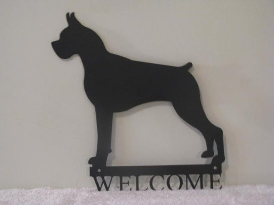 Boxer Welcome Metal Wall Art Silhouette