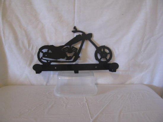 Motor Cycle 002 Coat Rack 3 Hooks Metal Wall Art Silhouette