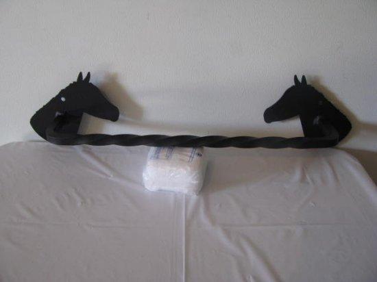 Horse Head Towel Rack (head facing in) Metal Wall Art Silhouette