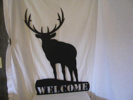 Elk Welcome Metal Wall Art Silhouette