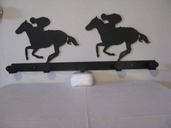 And Theyre Off Coat Rack Horse Racing Metal Wall Art Silhouette