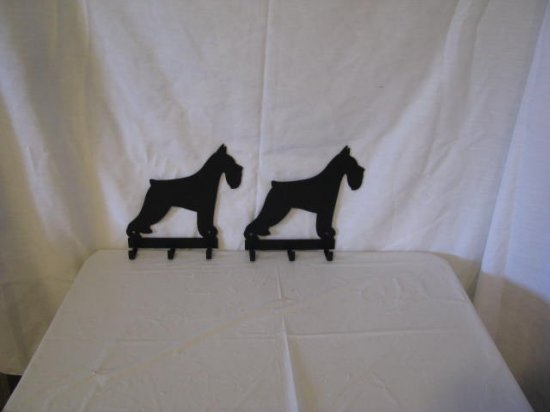 Schnauzer 3 Key Ring Holder Dog Metal Wall Art Silhouette Set of 2