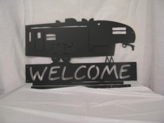 RV Welcome Sign Metal Wall Art Silhouette