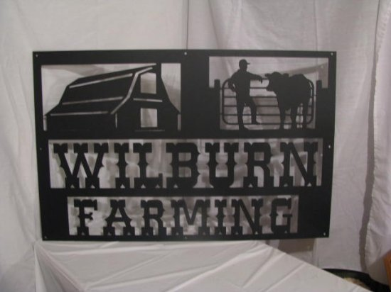 Custom Farm Sign 40  in x 26 in Metal Wall Art Silhouette