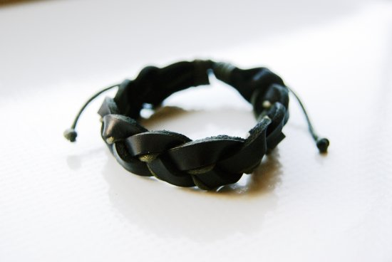 Black Leather Bracelet Wrapped with Green Threads