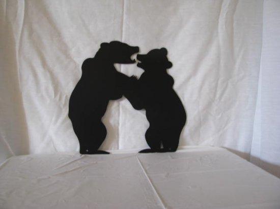 Bear Cubs Fighting Metal Wall Art Wildlife Silhouette Set of (2)