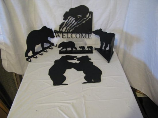 Bear Collection Metal Wall Art Wildlife Silhouette Set of 5