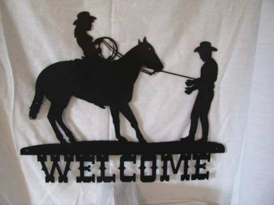 Cowgirl and Cowboy Welcome Western Wall Art Metal Silhouette
