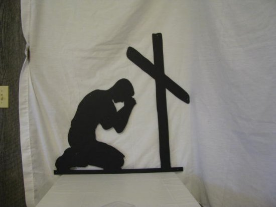 Man Praying at Cross Metal Wall Art Silhouette