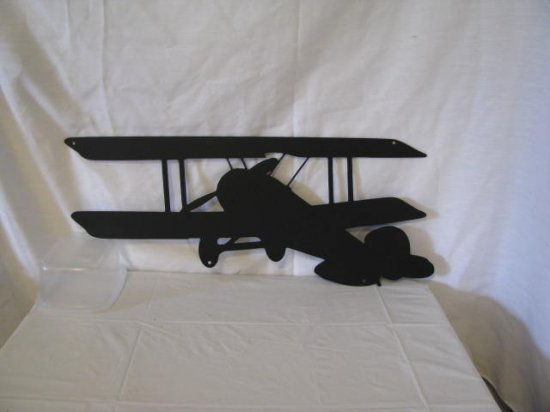 Biplane 003A Metal Wall Art Silhouette