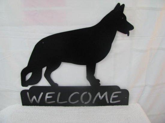 German Shepherd Welcome Metal Dog Wall Art Silhouette