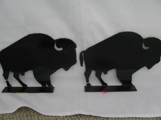 Buffalo Mail Box Topper Metal Wildlife Wall Art Silhouette Set of (2)