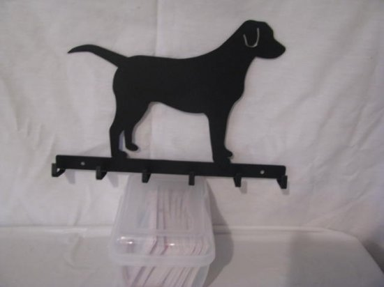 Dog Lab Silhouette Key/Leash Holder Metal Wall Art