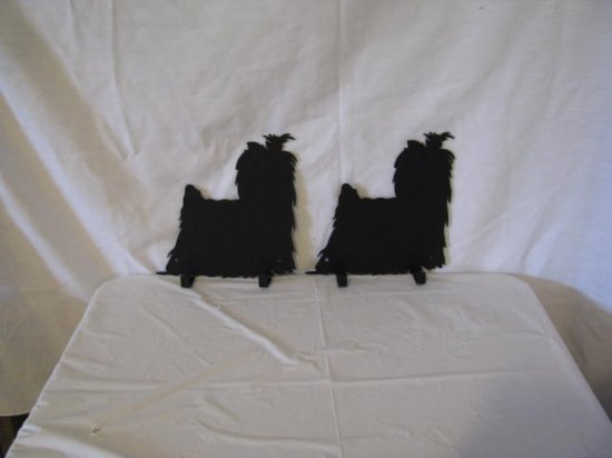 Yorkshire Terrier 002 Hook Leash Holder Metal Dog Wall Art Silhouette (Set of 2)