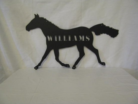 Horse 002 with Name Metal Western Wall Art Silhouette