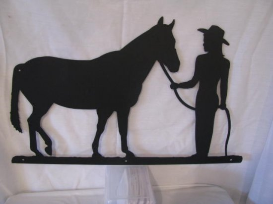 Cowgirl and Horse Metal Western Wall Art Silhouette