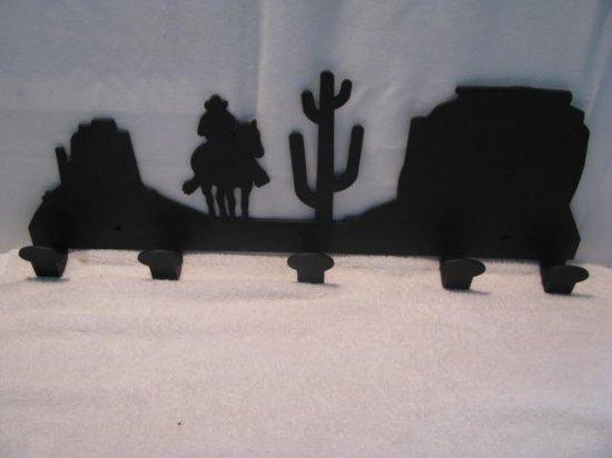 Scenic Arizona Cowboy Coat Rack Metal Western Wall Art Silhouette