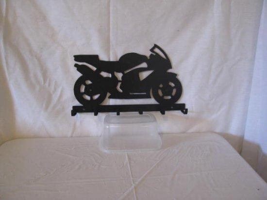 Motorcycle 001 Key Holder Metal Wall Art Silhouette