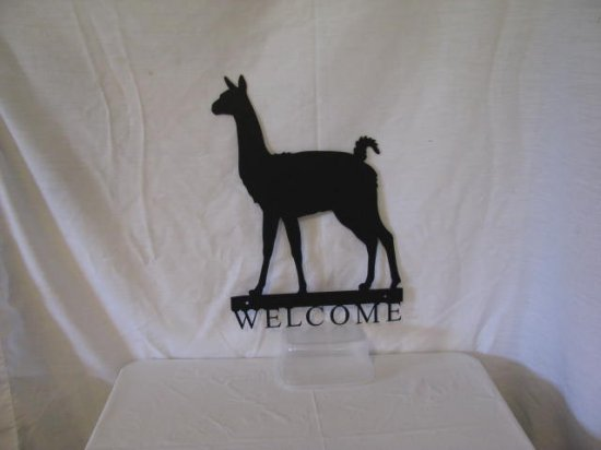 Llama 001 Welcome Small Metal Farm Wall Art Silhouette