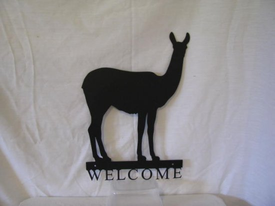 Llama 002 Welcome Small Metal Farm Wall Art Silhouette