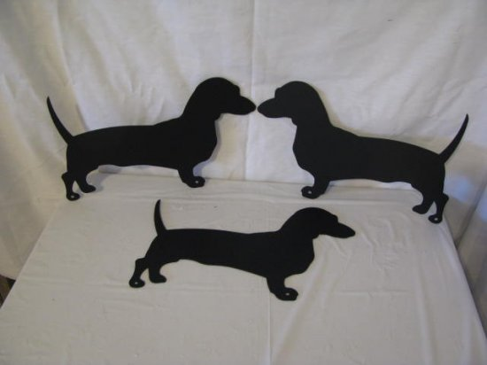 Dachshunds Small Set of (3) Metal Wall Yard Art Silhouette