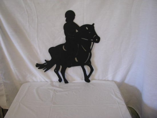 Girl on Show Pony Metal Wall Yard Art Horse Silhouette