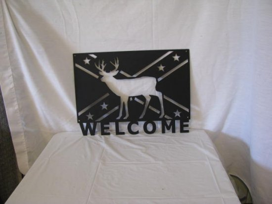 Rebel Flag Deer Welcome Metal Wall Yard Art Silhouette
