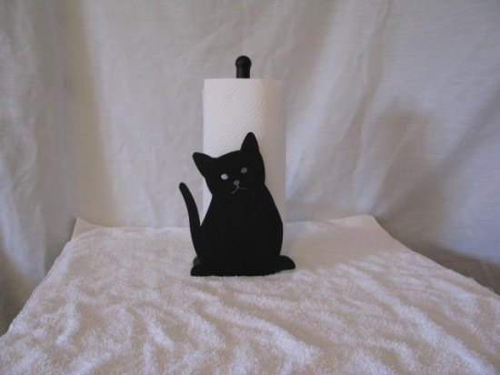 Cat 004 Paper Towel Holder Metal Wall Art Silhouette