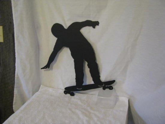 Skateboarder Metal Wall Yard Art Silhouette