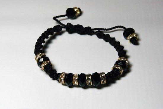 Black with Golden Pewter and Swarovski Crystals Thread Bracelet