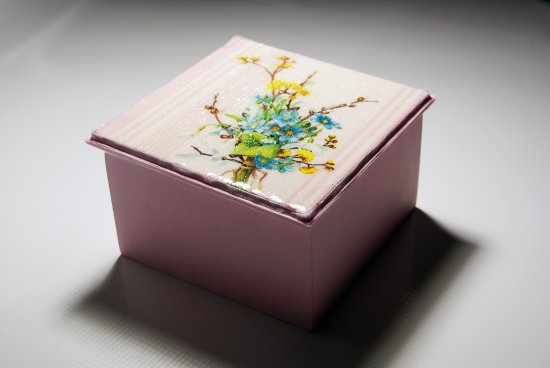 Decorative Pink Wooden Box with Floral Design
