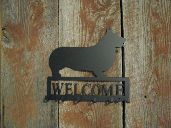 Corgi Welcome with Key Holder Metal Dog Wall Art Silhouette