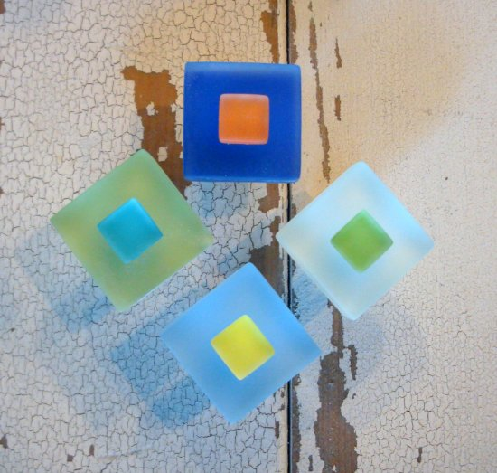 Small Beach Glass Tile Cabinet Knob Drawer Pull Furniture