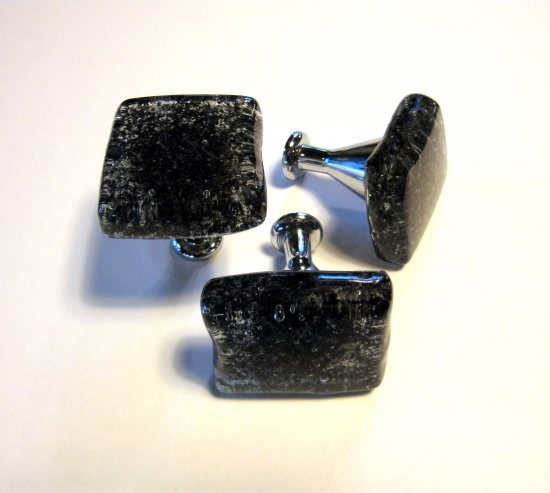 Fused Glass Cabinet Knob Drawer Pull Black Special Hardware