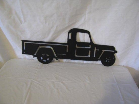 Jeep Truck 1951 Small Metal Wall Yard Art Silhouette