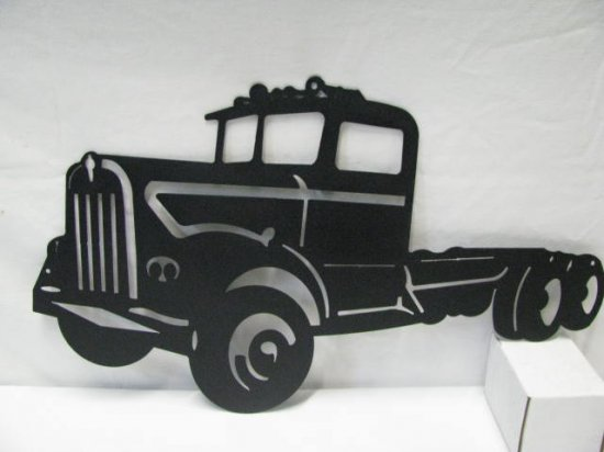 "60'""s Kenworth Semi Truck Metal Wall Art Silhouette"