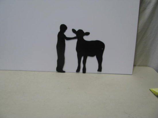 Farm Boy with Calf 002 Western Metal Art Silhouette
