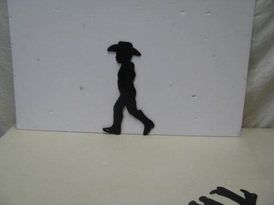 Cowboy Walking Western Metal Yard Art Silhouette
