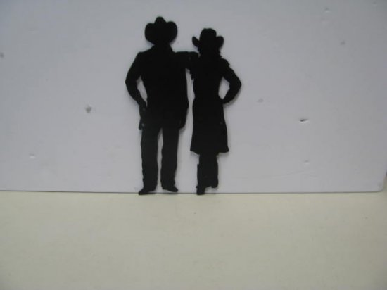 Westen CB Couple Western Metal Art Silhouette