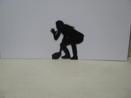 Girl Playing Softball Sports Metal Art Silhouette