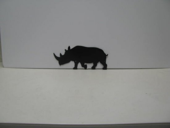 Rhinoceros 003 Wildlife Animals Metal Art Silhouette