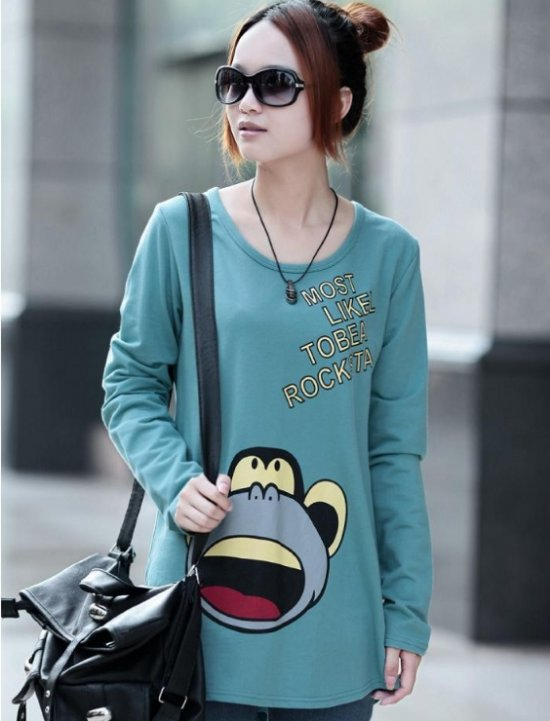 2014 new spring women clothing print T shirt plus size shirt loose fit long sleeve knit tops casual Tshirt blouses