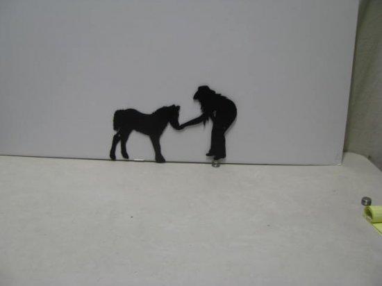 Cowgirl Pony Western Metal Wall Yard Art Silhouette