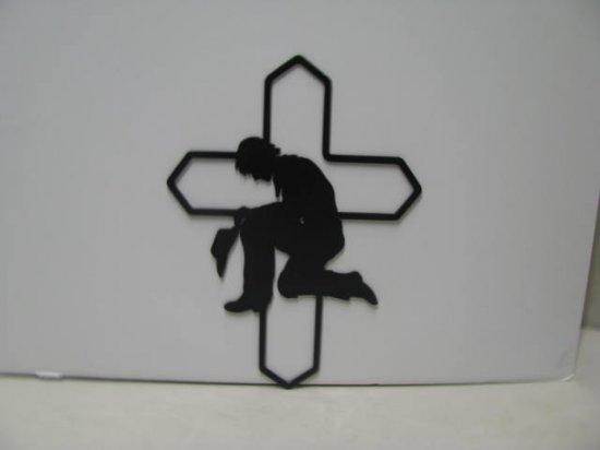 Cowboy Praying 009 Metal Wall Yard Art Silhouette