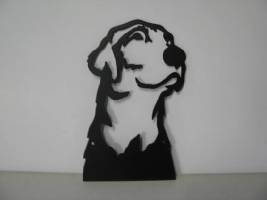 Lab Dog Portrait Metal Art Silhouette