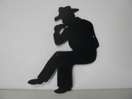Cowboy Camp Fire 010 Metal Art Silhouette