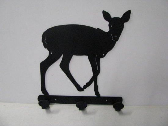 Deer 064 Standing 3 Hook Coat Rack Metal Art