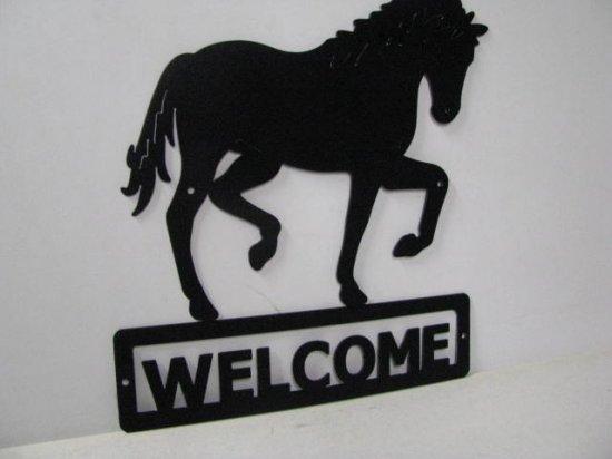 Horse 197 Walking Welcome Sign Metal Art