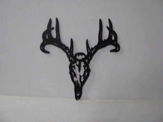 Tribal Deer 001A Large Wildlife Head Metal Art Silhouette