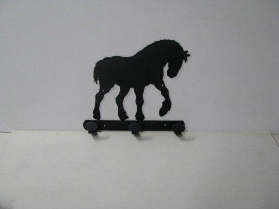 Clydesdale 009 Walking 3 Hook Coat Rack Metal Art